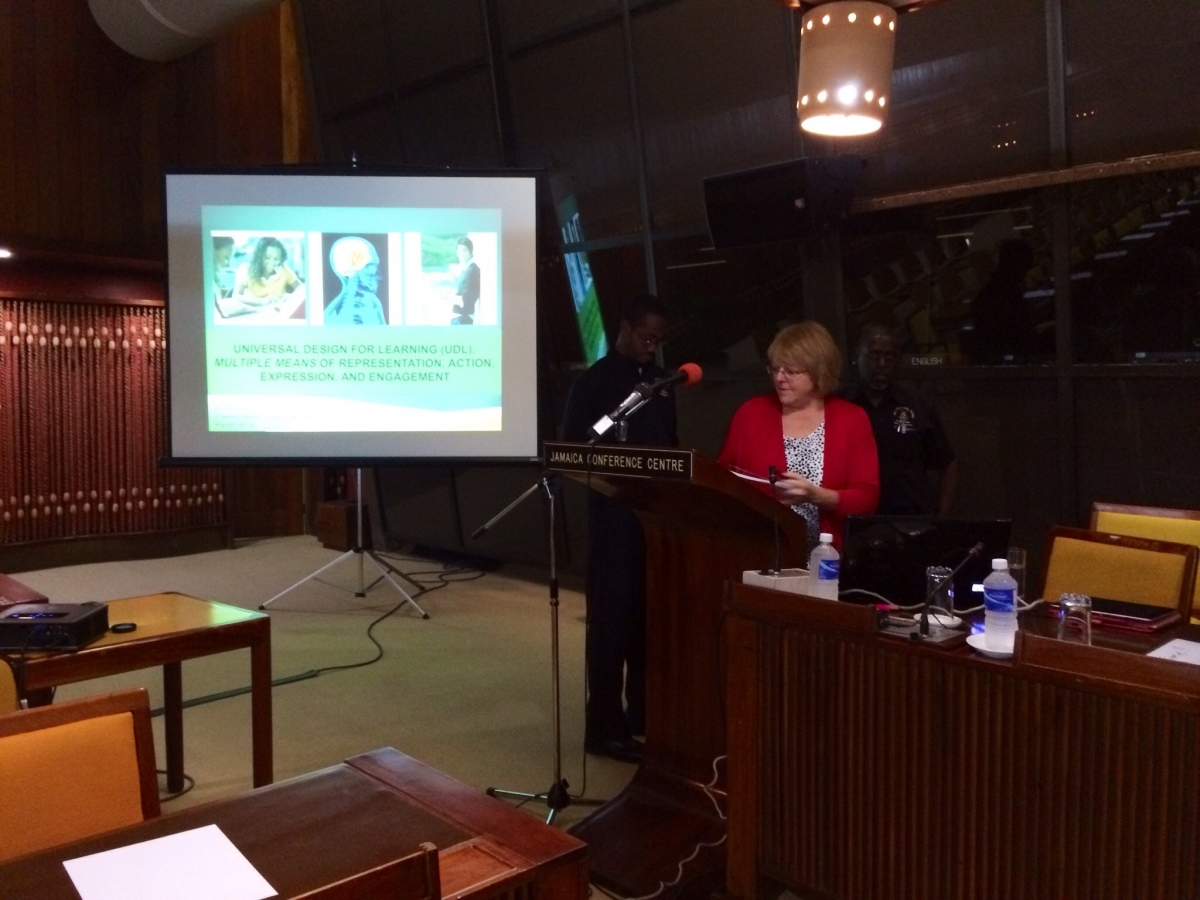 Presenting the UDL message at the biennial education conference in Kingston, Jamaica