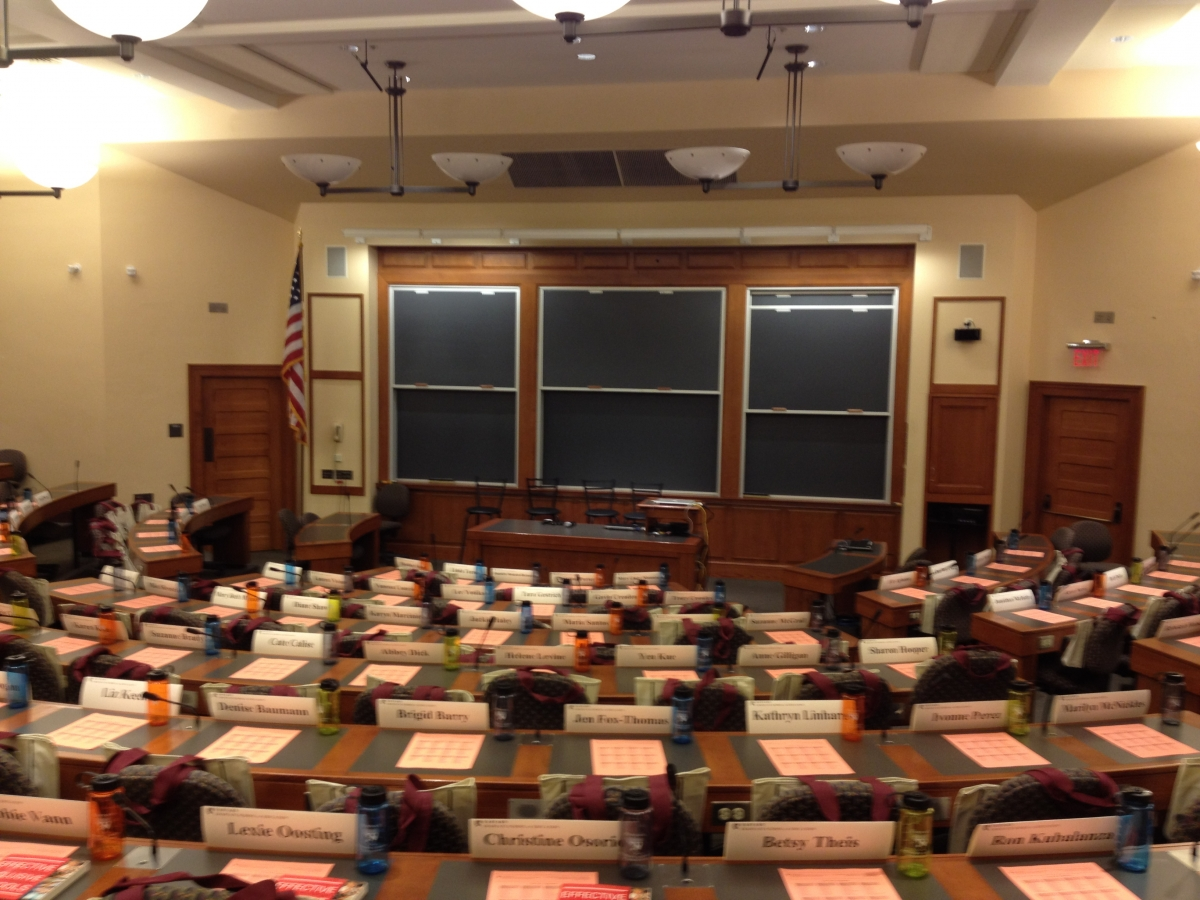 A typical classroom space at Harvard University